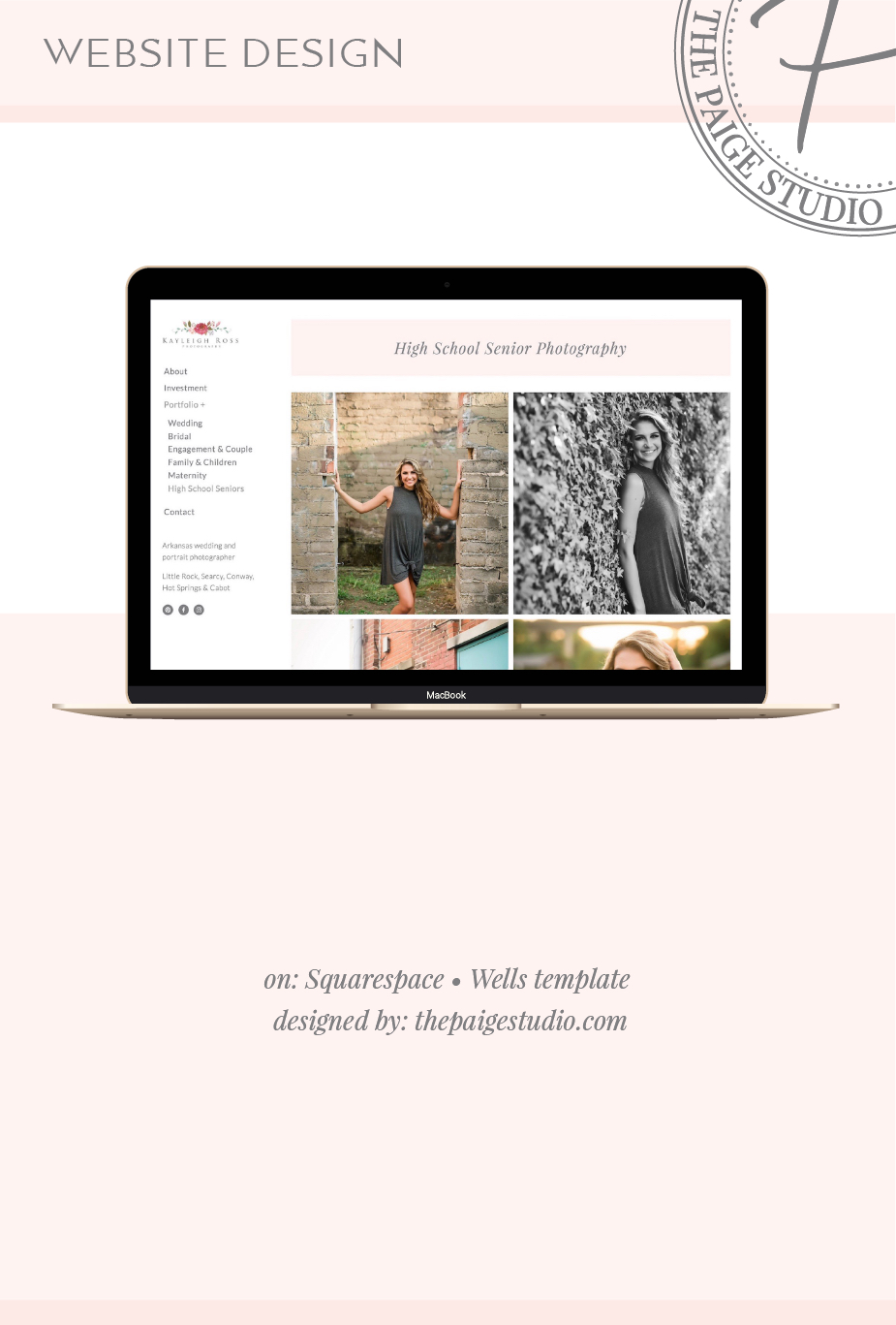 Photographer website designed by The Paige Studio on Squarespace, Wells template