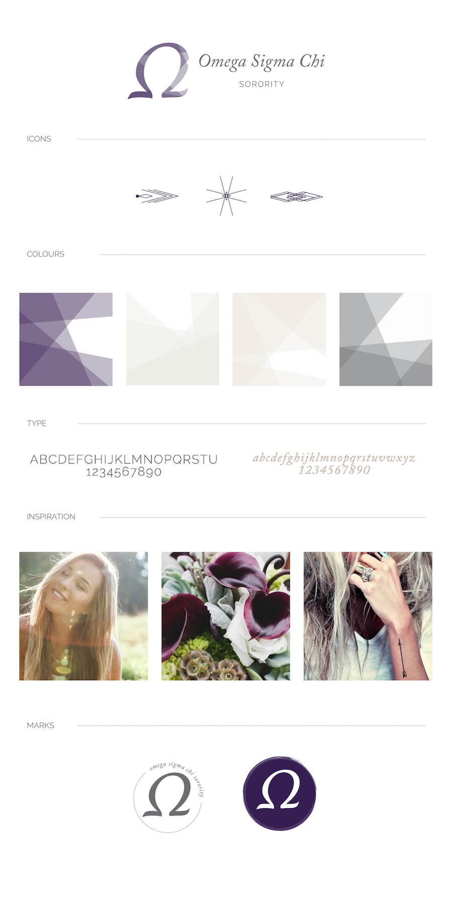 mood board and color palette - whimsical, feminine, purple