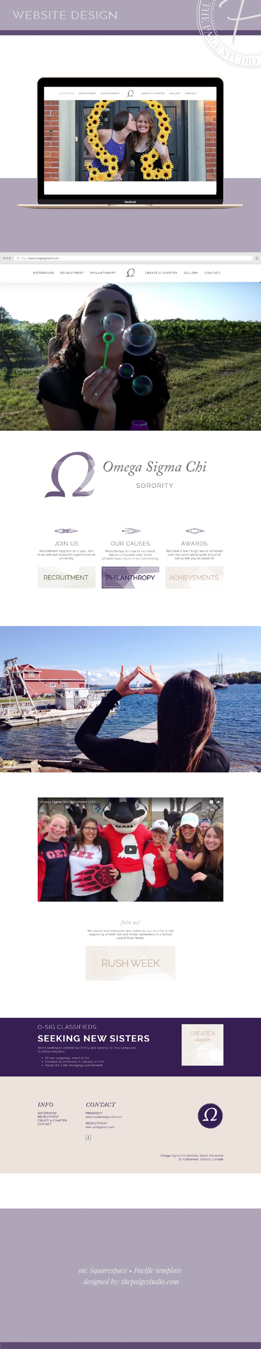 sorority website design project with omega sigma chi and the paige studio