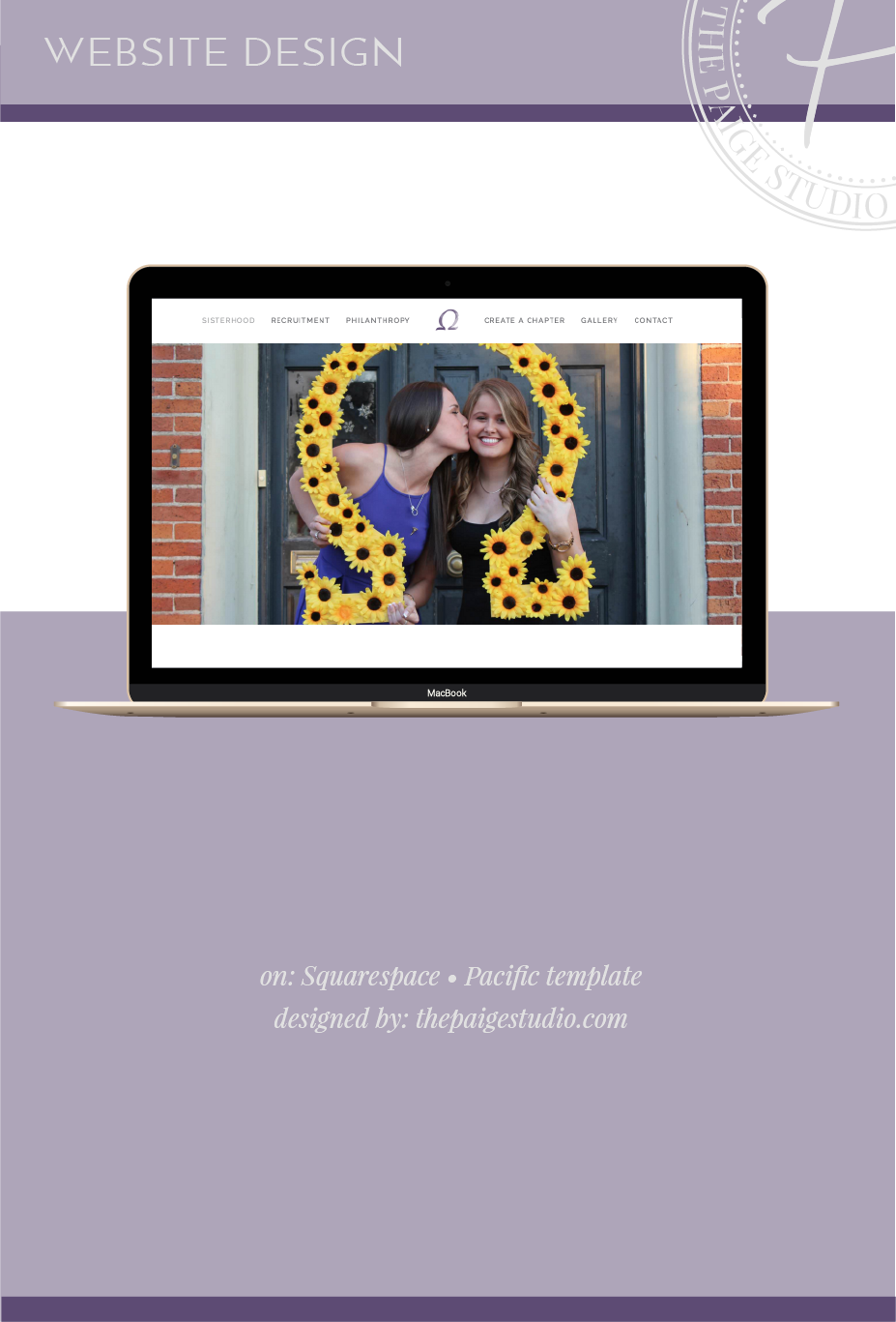 Sorority website design project with Squarespace's Pacific template
