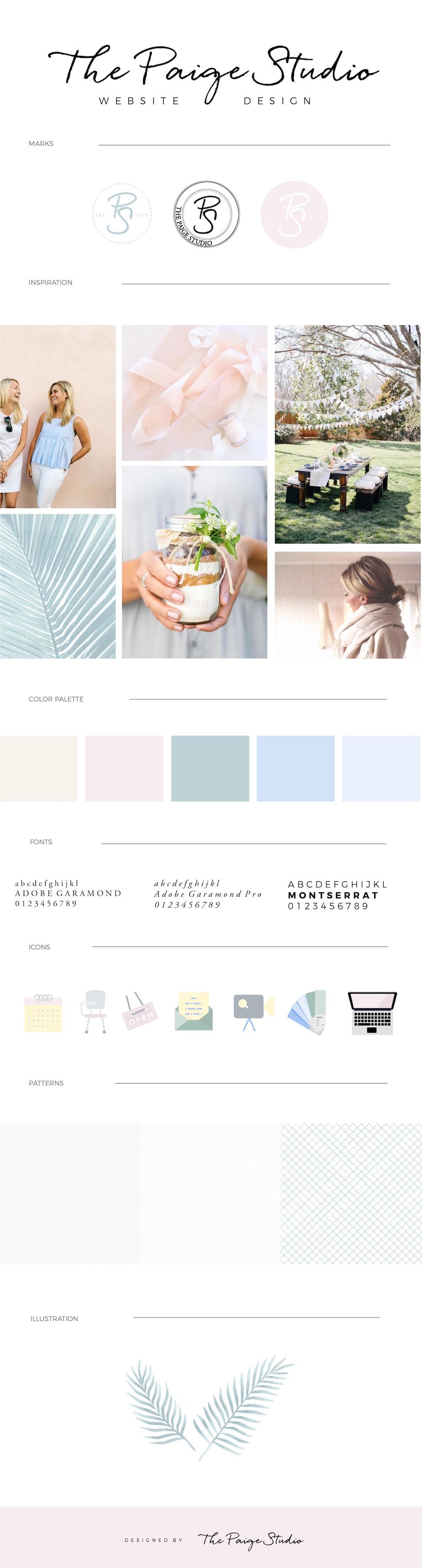 mood and brand board for a female-run website design studio