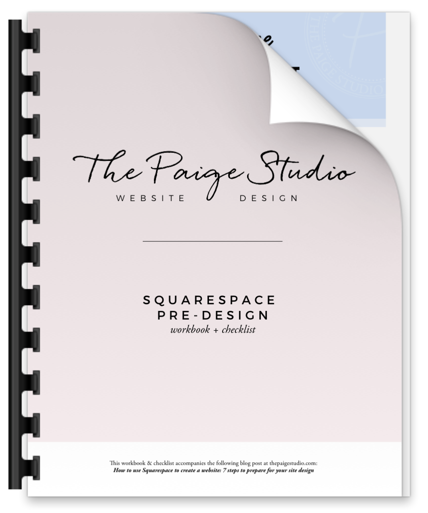 pre-design workbook and checklist squarespace