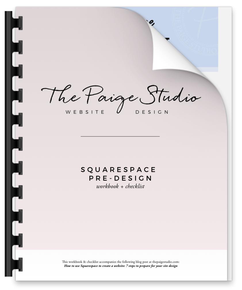 pre-design workbook and checklist squarespace