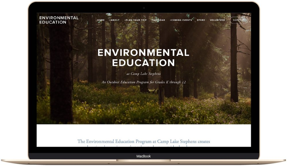 Environmental educatio Camp Lake Stephens website design by The Paige Studio.jpg