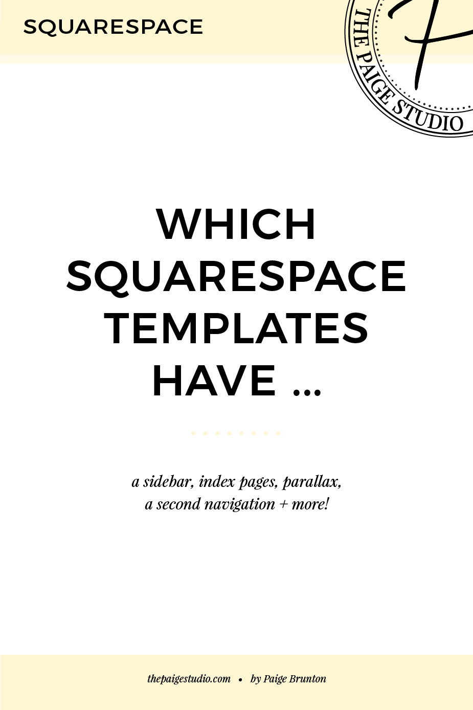 Which Squarespace templates have a sidebar, index, parallax, second ...