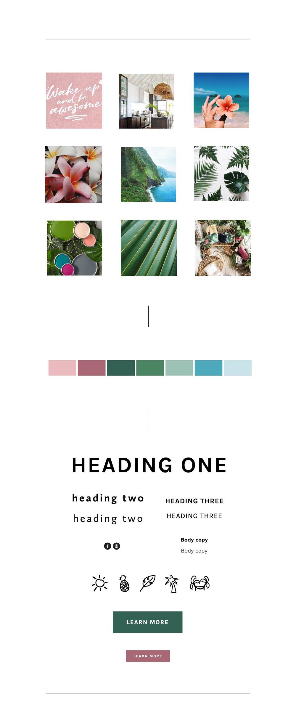 Tropical Mood Board + Color Palette for a Squarespace website design.jpg