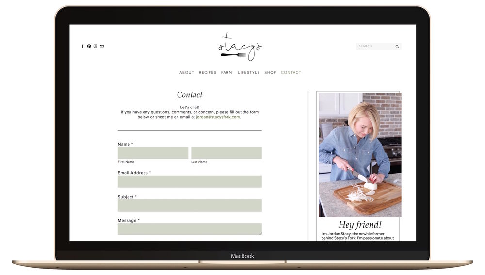 clean, modern contact page on a squarespace blog website.jpg