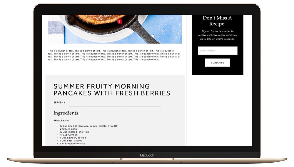 recipe card style blog post built on squarespace with custom css.jpg