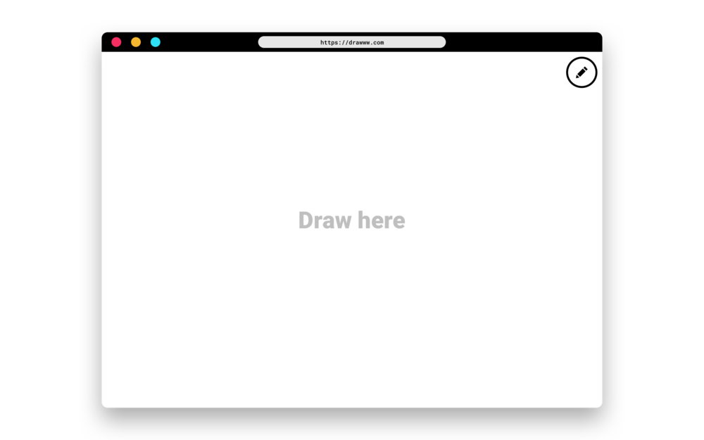 1. You go to  drawww.com , which is a blank canvas where you can start drawing right away.