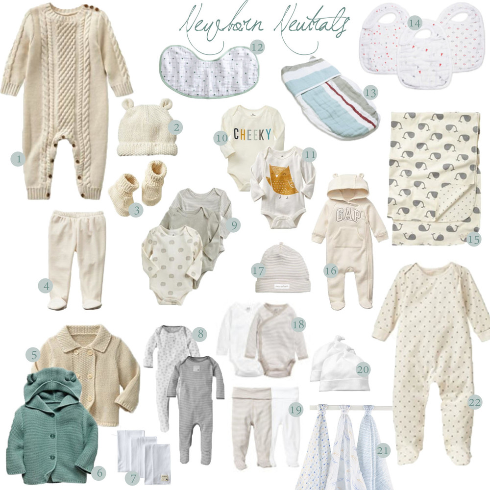 1. Fisherman Knit One Piece 2. Knit Bear Hat 3. Knit Booties 4. Footed Pants 5. Knit Cream Sweater 6. Knit Bear Hoodie 7. Organic Burp Cloths 8. Cotton Footies 9. Hi organic onesies (similar here) 10. Cheeky 11. Bird 12. Stars Burpy Bib 13. Easy Swaddle 14. Muslin Bibs 15. Reversible whale blanket 16. Gap Bear One Piece 17. Hat 18. Crossover Onesies 19. Footed Pants 20. Knot Caps 21. Muslin Swaddles