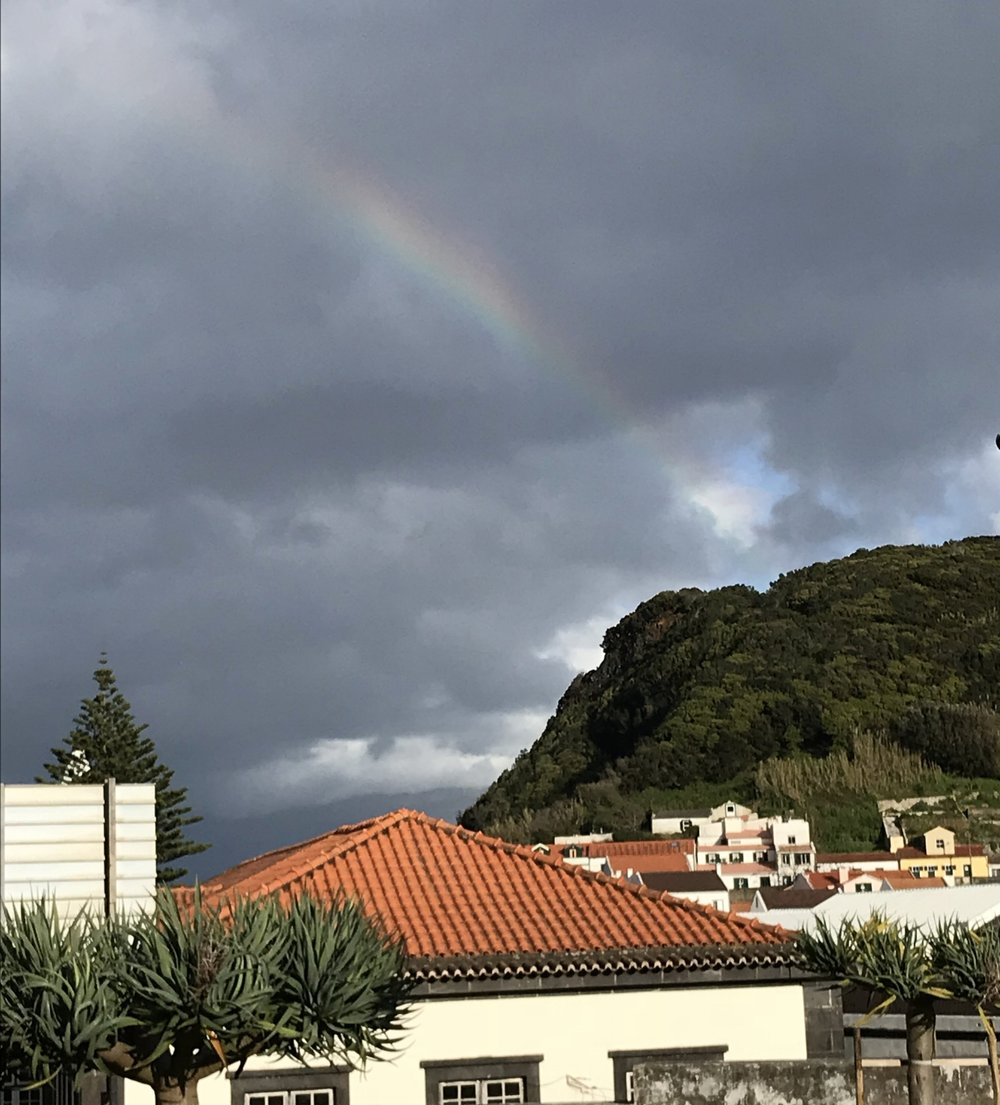 View of Faial/ paradise, complete with rainbow!