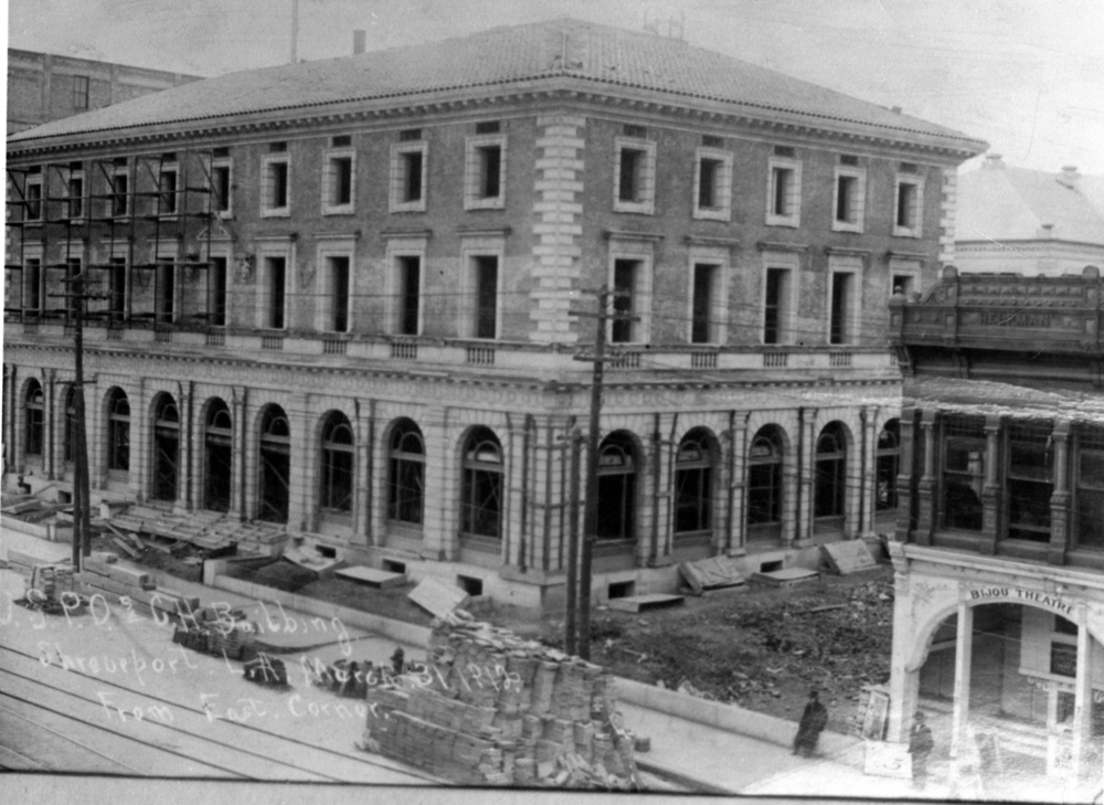 In the shadow of the newly constructed post office in 1912 (now Shreve Memorial Library), The Bijou sits quietly at 412 Texas St. The Bijou was one of several nickelodeons in downtown Shreveport.  Credit: Courtesy of LSU-Shreveport Archives and Special Collections, Noel Memorial Library, Louisiana State University, Shreveport, LA