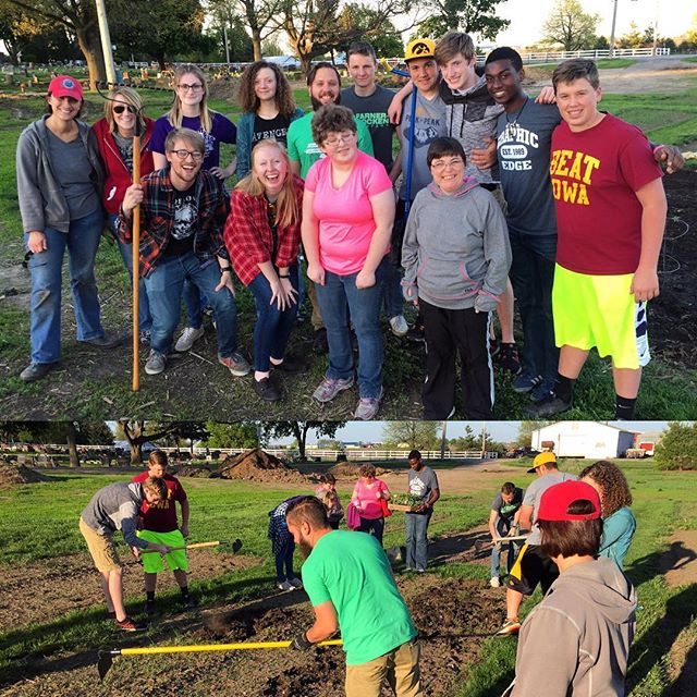 """Lots of fun at the High School group's final """"OUT"""" (service night) tonight. Perfect weather for hitting the community garden! Thanks to Gina, Jeannie & Keith for bringing the know how... and tools ;)"""