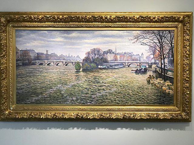 "When is the next flight? I'm sold. 'La Seine À Paris' by Gustave Cariot. 1932, oil on canvas. 29""x60"" #impressionistandmodernartsale #sothebys #gustavecariot #cariot #oilpainting #painting #paris #laseine"
