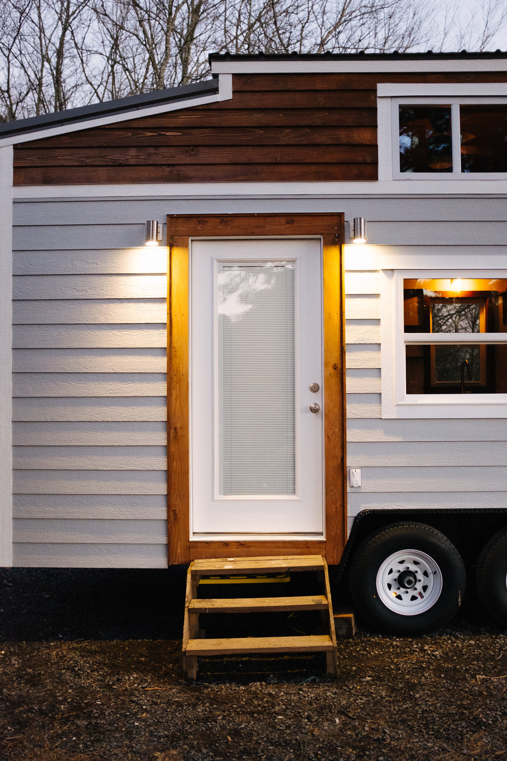 The Noah by Wind River Tiny Homes - cedar lap siding, LP smartsiding, craftsman home