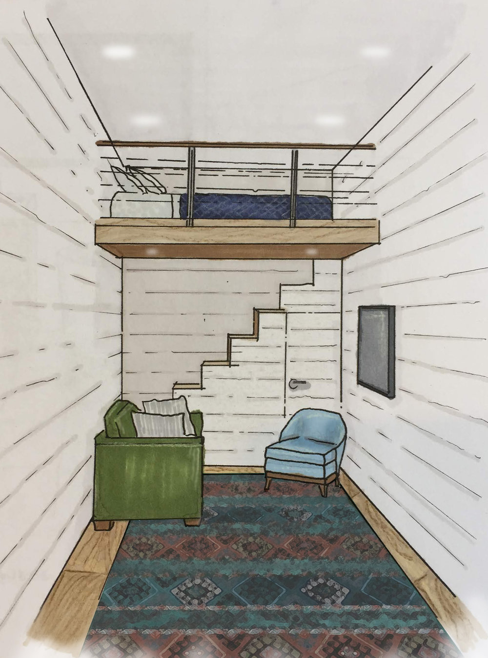 #2 - Let's talk storage stairs. They don't always have to be positioned in the middle of the house. Stairs inset into the loft, or better yet, going up the back are a great idea and a space saver.