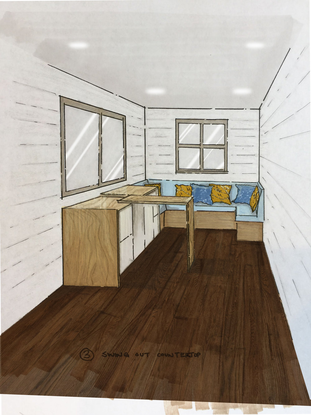 #7 - Counter space in a tiny house is coveted. Why not create convertible counter top space that can be expanded while in use and then stowed away. We've already done this with sink covers, we'd like to try a fold-out design like this too.
