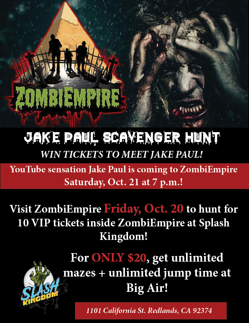 HUNT FOR VIP TICKETS! - THIS FRIDAY, Oct. 20, is your chance to win VIP tickets to meet Jake Paul and Team 10 on Saturday, Oct. 21! A total of 10 VIP tickets will be hidden throughout ZombiEmpire!For only $20, get unlimited mazes, unlimited jump time in Big Air, PLUS your chance and winning VIP tickets.Doors open at 7 p.m.! See you THIS FRIDAY!