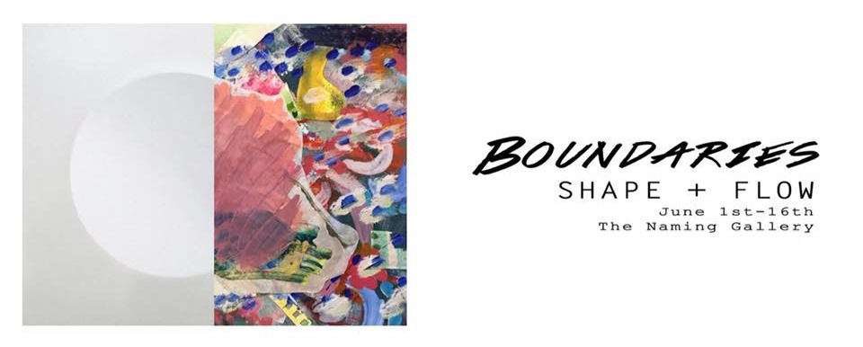 """Boundaries: Shape+Flow    1 June–16 June, 2018   Naming Gallery   335 15th St Oakland, CA 94612   """"Boundaries: Shape+Flow is a show about bracing the relationship between flow, a circulation or movement, and shape, a form as defined by its boundaries. Between these two paradigms lies the question of where one ends and the other begins. Boundaries can be clear, strong sharp; or muddled, mixed, translucent.  How do we define, set and see boundaries? Is there a line between one and the other? This show creates space for the viewer to reflect on their own vision of boundaries.  Artists: Adrienne Pugh, Michelle Galemmo, Jear Keokham."""""""