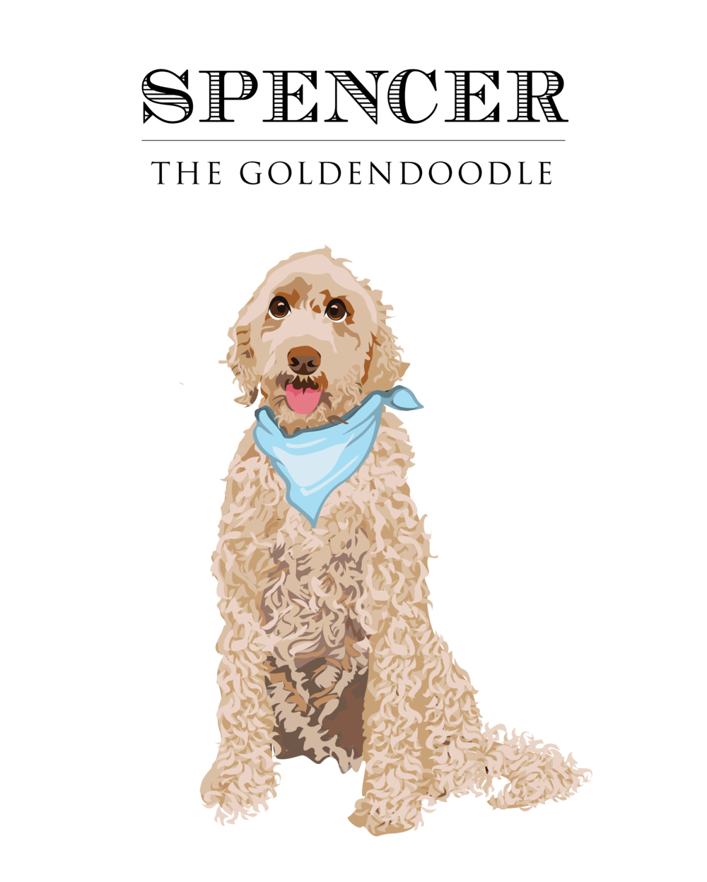 Final Design of Custom Clip Art - Here is the final design that Brittany approved. It is a beautiful vector illustration of her dog, Spencer the Goldendoodle. This type of design works wonderfully as a logo for doggie daycare, pet boarding, or a pet grooming business.