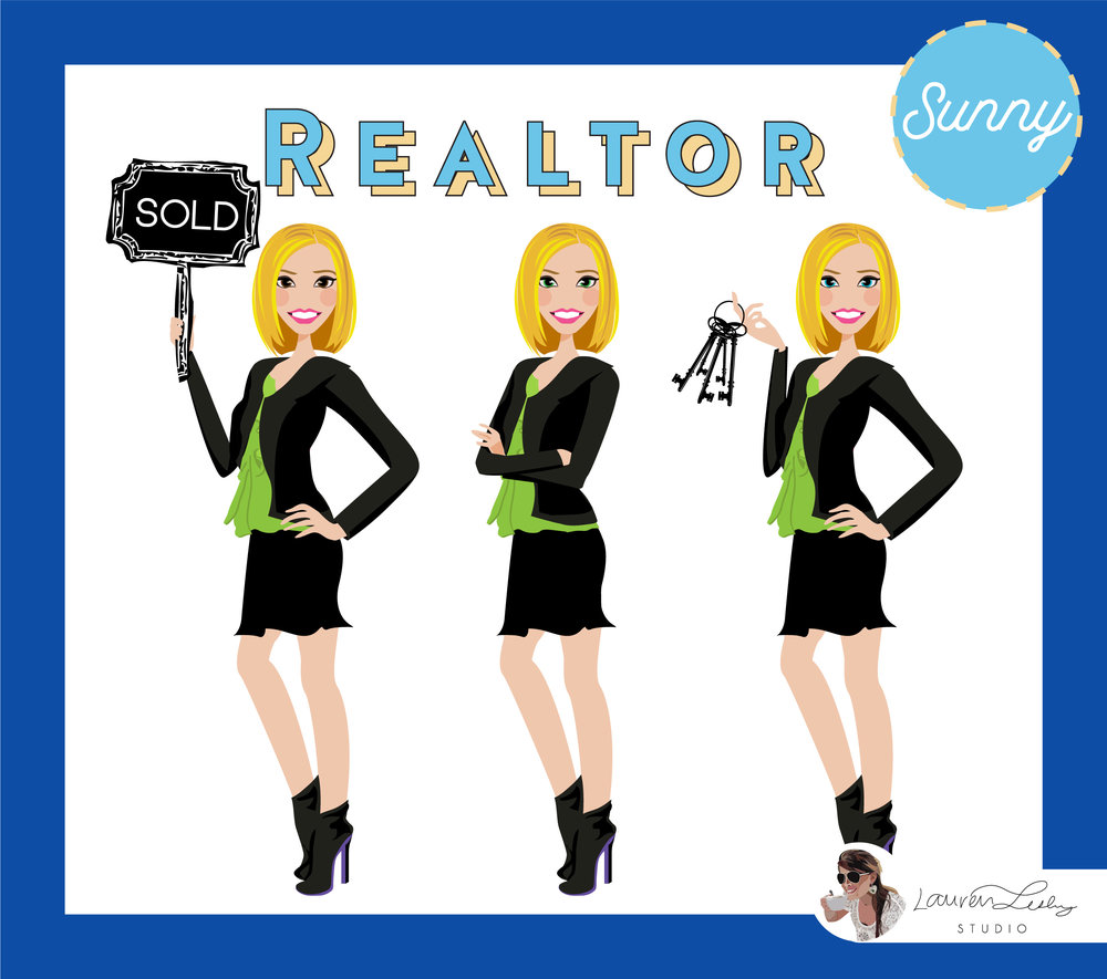 Initial Request for Custom Portrait illustration - Carla: I am one half of a two person real estate team and we are wanting to revamp our current logo. Currently we only have busts done and would love the full body. We usually position our girls where they are back to back so that may be an issue to with the elbows. I would love to have your thoughts on redoing this. Thanks so much :)Lauren: Hi Carla, Definitely, I can help you with this!Carla: Thanks so much for responding! Casey and I will pick a girl each and purchase.