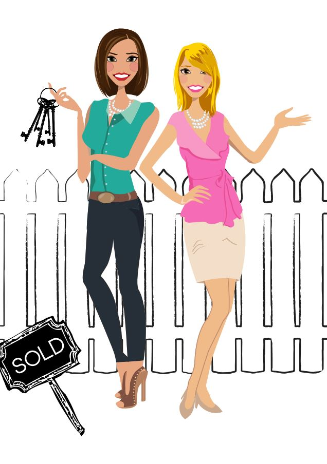Final Design of Custom Portrait illustration - Here is the final design that Carla approved. It is a beautiful vector illustration of herself and her colleague. This type of design works wonderfully as a logo for Real Estate Agents.