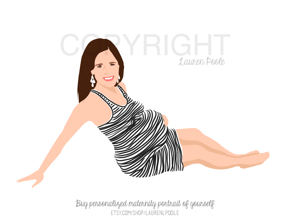 Final Design of Custom Portrait illustration - Here is the final design that Dan approved. It is a beautiful vector illustration of his pregnant wife. This type of design works wonderfully for maternity, mother's day and baby shower gifts.