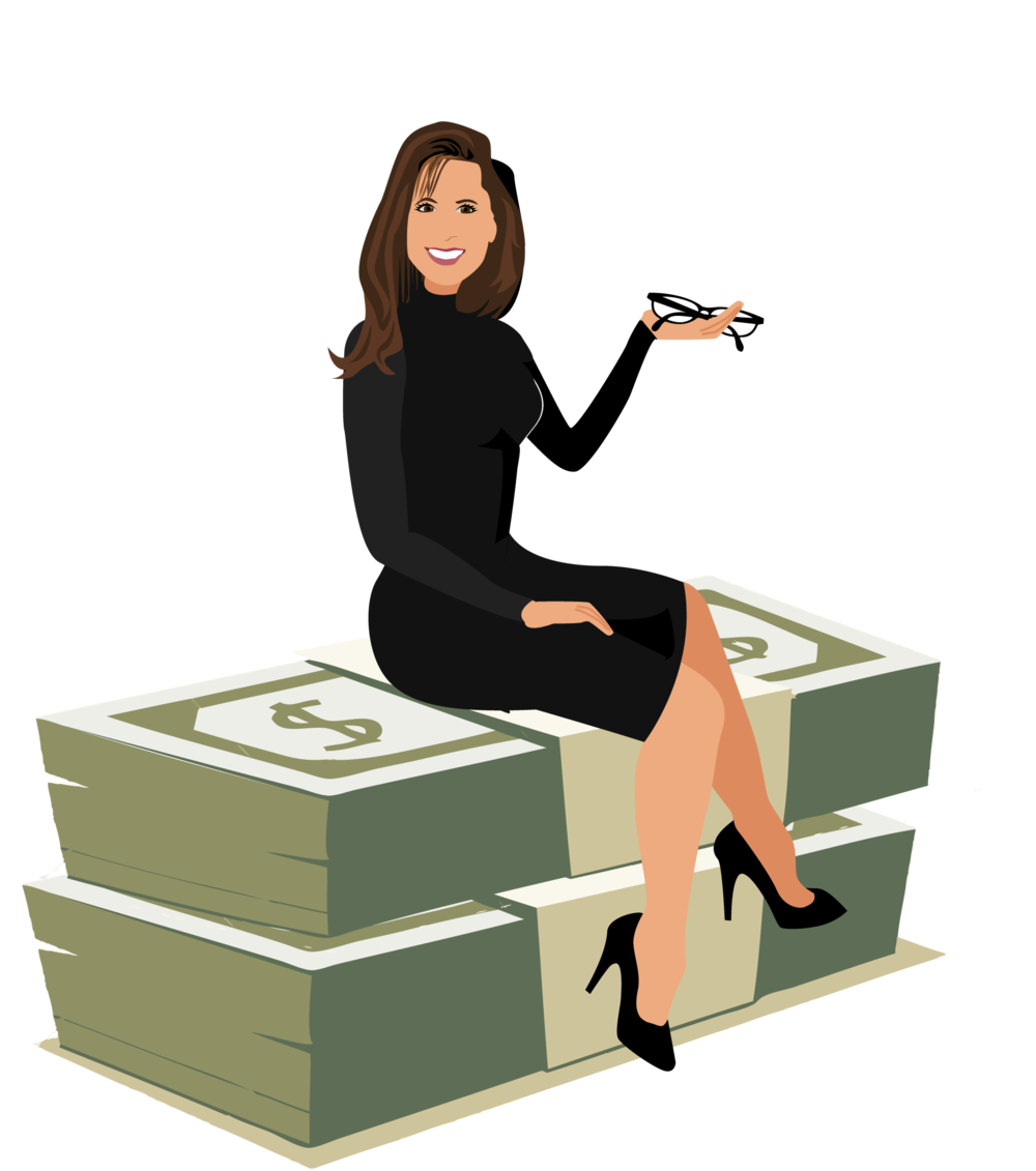 Final Design of Custom Portrait illustration - Here is the final design that Jennifer approved. It is a beautiful vector illustration of her in her profession as a Financial Advisor. This type of design works wonderfully for Business Women offering professional services online.