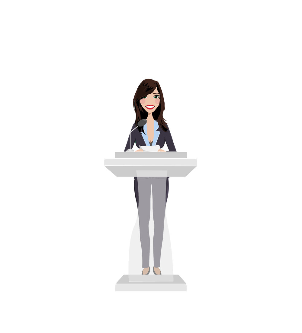 Final Design of Custom Portrait illustration - Here is one of the final design that Tracy approved. It is a beautiful vector illustration of her as a Public Speaker.This type of Design works wonderfully for Business Babes.