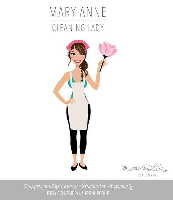 Initial Request for Custom Portrait illustration - Macey: Hi, I run a green cleaning business named Macey's Green Cleaning. I like this picture attached...I just would like the color changed to green. Let me know thank you!.Lauren: Hi Macey! Definitely. I'm happy to help. Thank you! Lauren