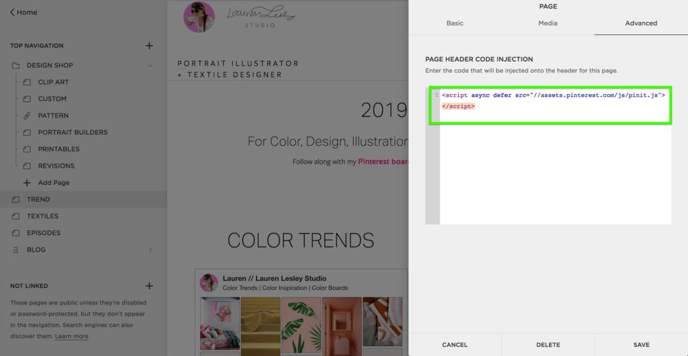 Pinterest Widget Code Inject
