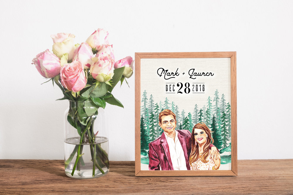 Watercolor Wedding Portrait - Custom