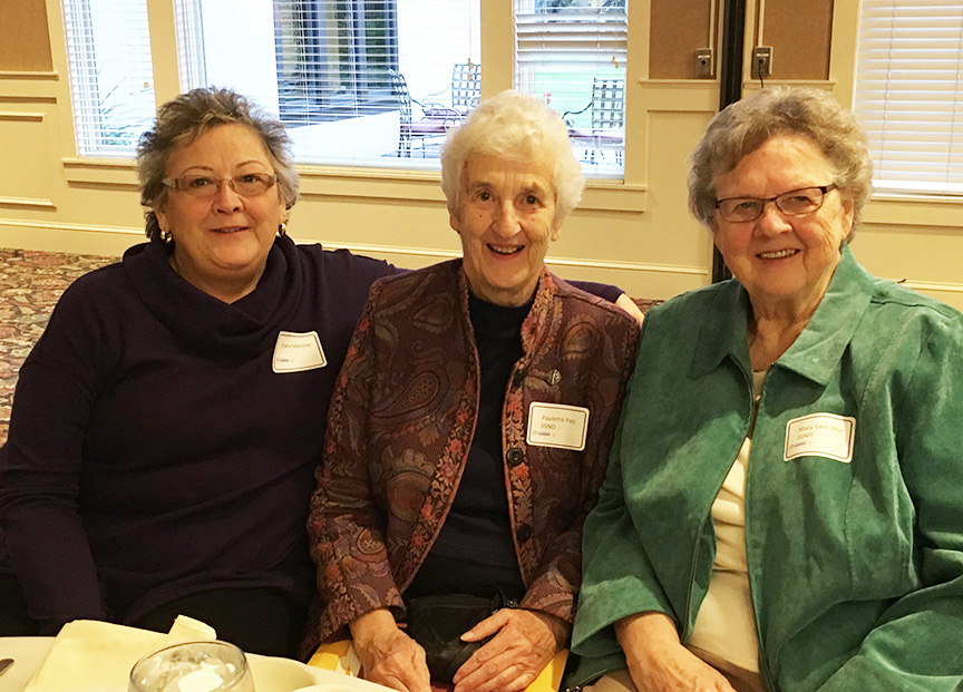 Diane Melcher, Board member Sister Paulette Pass, and one of our founders, Sister Mary Gen Olin.