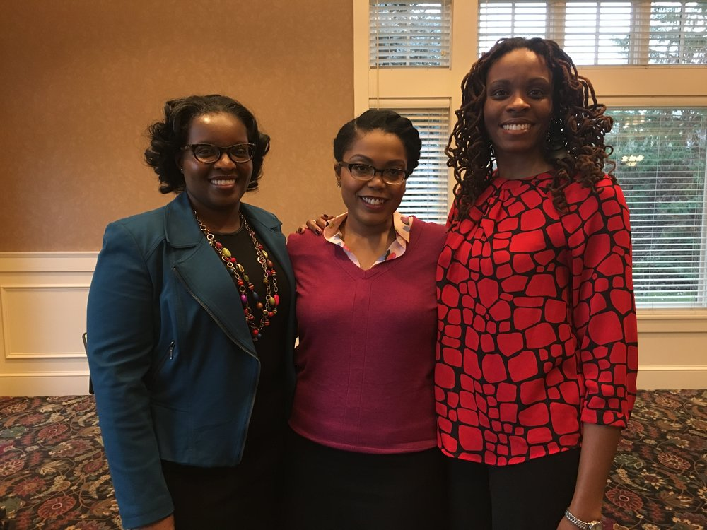 Sherellia Moore, keynote speaker Acooa Ellis, and Theresa Living Center board member Karla Benson Rutten.