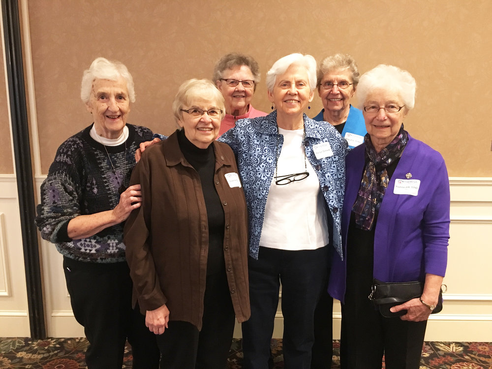 Thrilled to have so many School Sisters of Notre Dame at the breakfast, including many stalwart volunteers and supporters, not to mention our two founders! Left to right: Sisters Paulette Pass, Suzanne Eichler, Mary Gen Olin, Marilyn Orchard (founder), Rita Jirik, (founder), and Paulissa Jirik. We are so grateful for all of the love, hard work, and generous financial assistance the SSND has given us over the past 30 years!