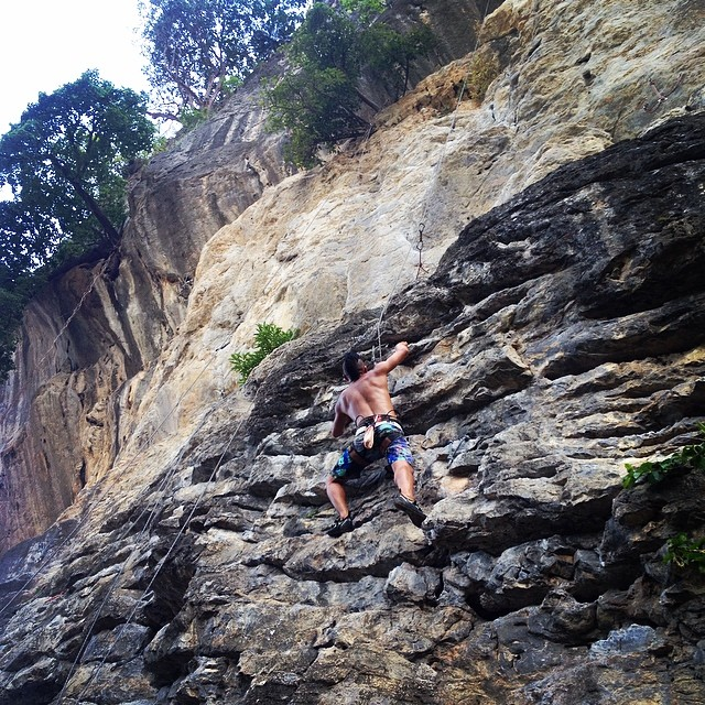it's nice to be climbing again after 4 years. this photo was taken at diamond near railay beach.   - jonathan