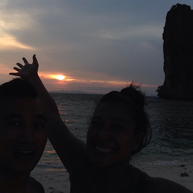 #nofilter , we are just THAT dark. jonathan and i enjoying a sunset from poda island.   - allie