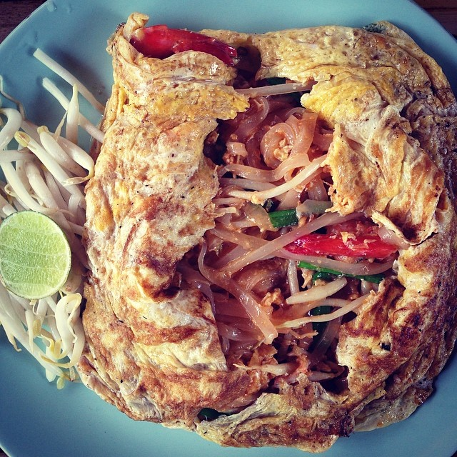 .pad thai in an egg wrap, what!?!?.so delicious. orchids restaurant in khao lak, thailand.   - allie