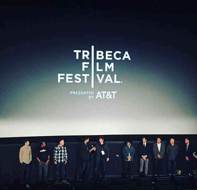Two more showings remain for our Surf's Up! program at #tribeca2017 It has been really fun sharing the stage with @chrisburkard and @benweiland 's beautiful film Under an Arctic Sky. Here the crews give a little QA following the show.