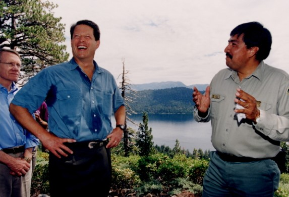 Juan Palma with Vice President Al Gore during the 1997 presidential visit to lake tahoe, ca. Nevada senator harry reid looks on.