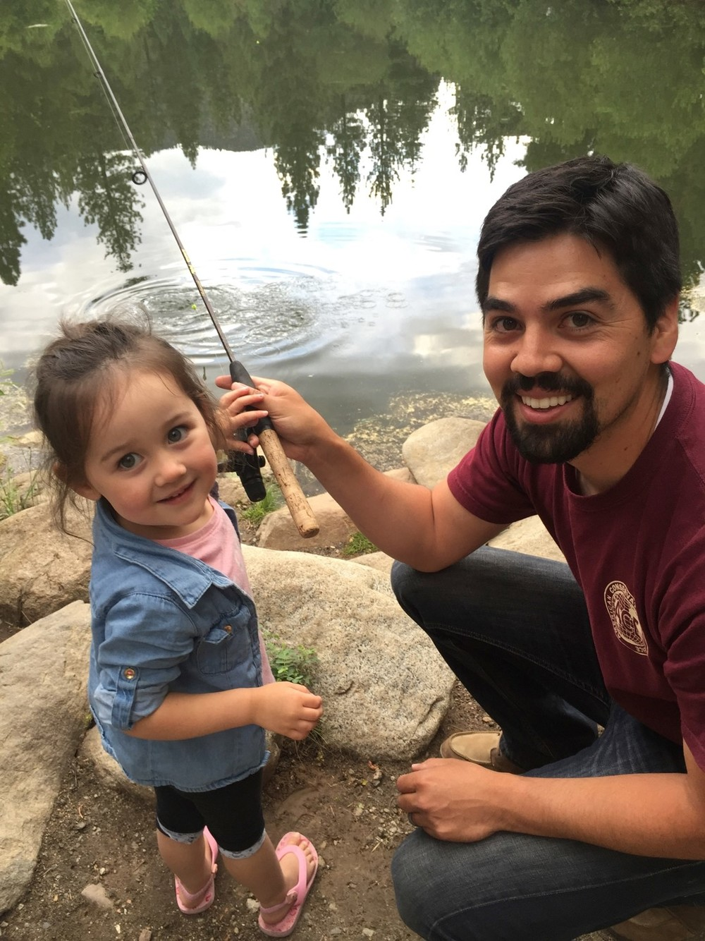 Jacob Palma and his daughter Kaylie fishing on Silver Lake Uinta Forest.
