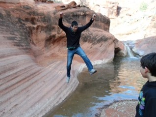 Jake Palma playing around in the Red Cliffs National Conservation Area BLM Saint George Field Office, Utah.