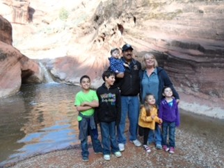 Juan and Susan Palma hiking the Red Cliffs National Conservation Area with five of their grandchildren. BLM Saint George Field Office, Utah.