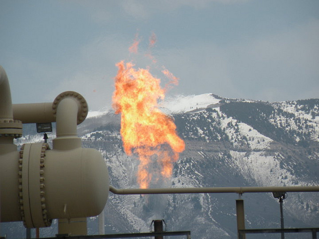 Flaring occurs when natural gas is burned directly into the air.Piceance basin, CO. Photo: Tim Hurst CC by-SA 2.0
