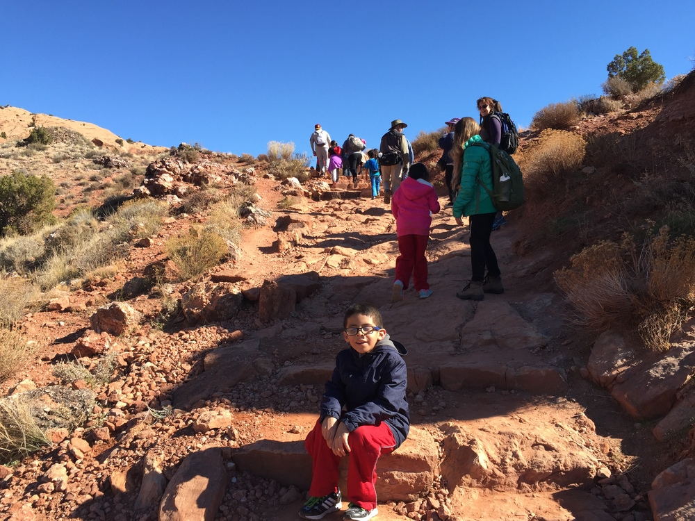 Juan Palma led a hike with kids from moab on the Delicate arch trail and talked about Latino connections to the area. The old spanish trail runs through this same region, and is being considered for protection under a tool called a Master Leasing Plan (MLP).