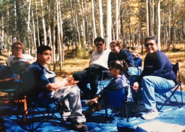 steve and friends enjoying the day outdoors in the aspen trees on the san francisco peaks in flagstaff, arizona.