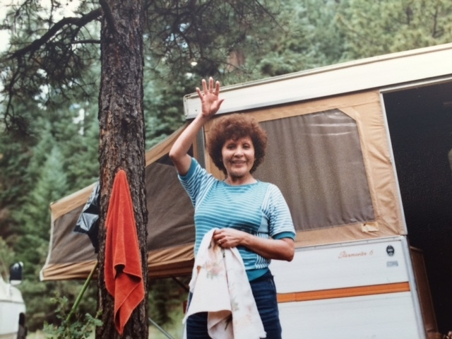 Steve's Mom Jenny Peru in front of the new family camper
