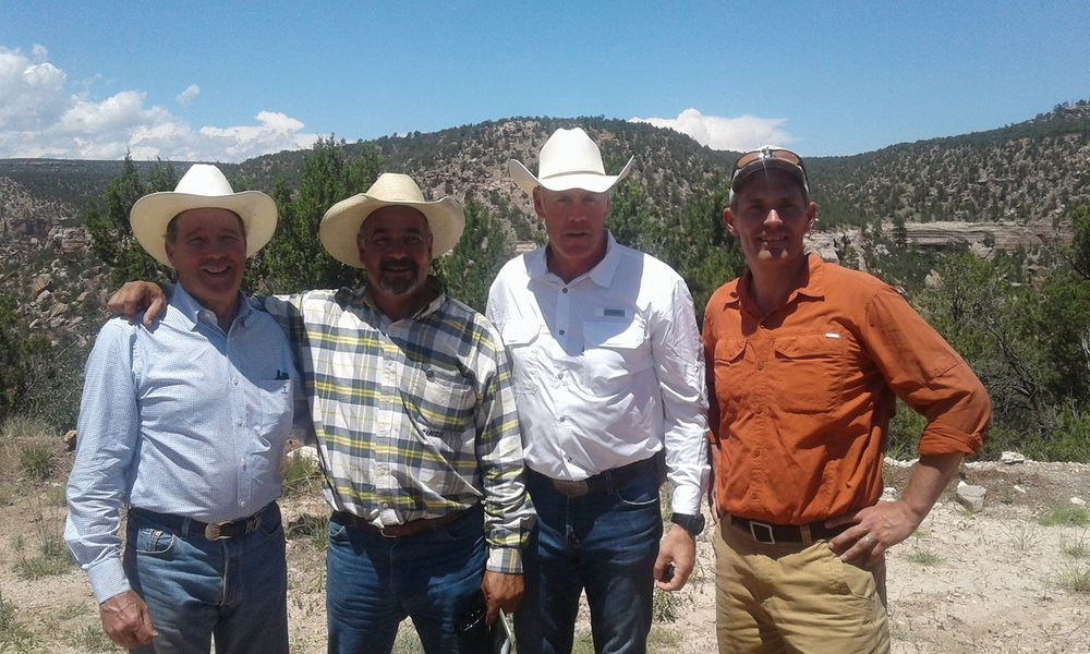 From Left: Senator Tom Udall, Commissioner Rock Ulibarri, Sec. Ryan Zinke, Senator Martin Heinrich - At the Sabinoso Wildreness Area