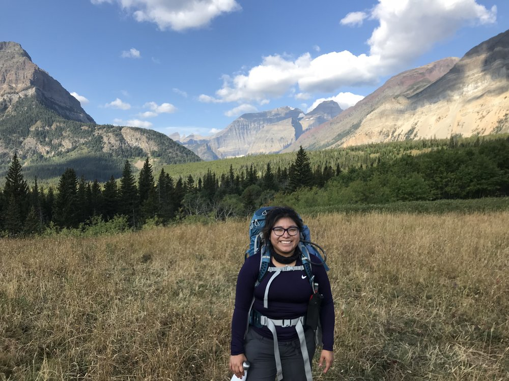 ADriana backpacking at Glacier National Park