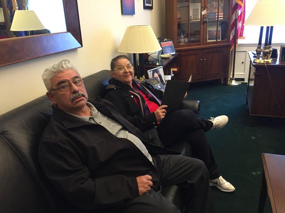 Lupe and Sylvia Huereña sitting in Congressman O'Halleran's office